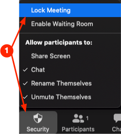 choose Lock Meeting from the Security icon after a class starts