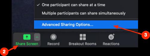 set Advanced Sharing Options