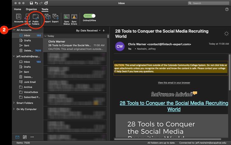 Click Public Folders icon