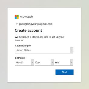 MS account birthdate