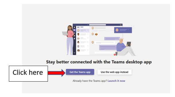 download MS Teams app