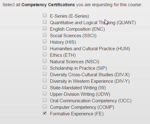 How to make a curriculum change request fsu bb support center at the bottom of the course information form you will see check boxes for liberal studies and upper division competencies check the appropriate ones you spiritdancerdesigns Choice Image