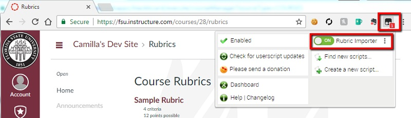 Installing & Using the Import Rubric Tool - FSU Canvas Support Center
