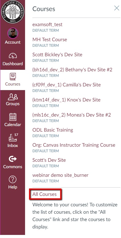 How to access past courses in Canvas - FSU Canvas Support Center