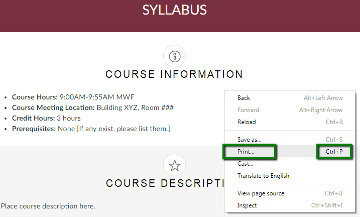 Saving a Course Syllabus as a PDF file in Canvas - FSU