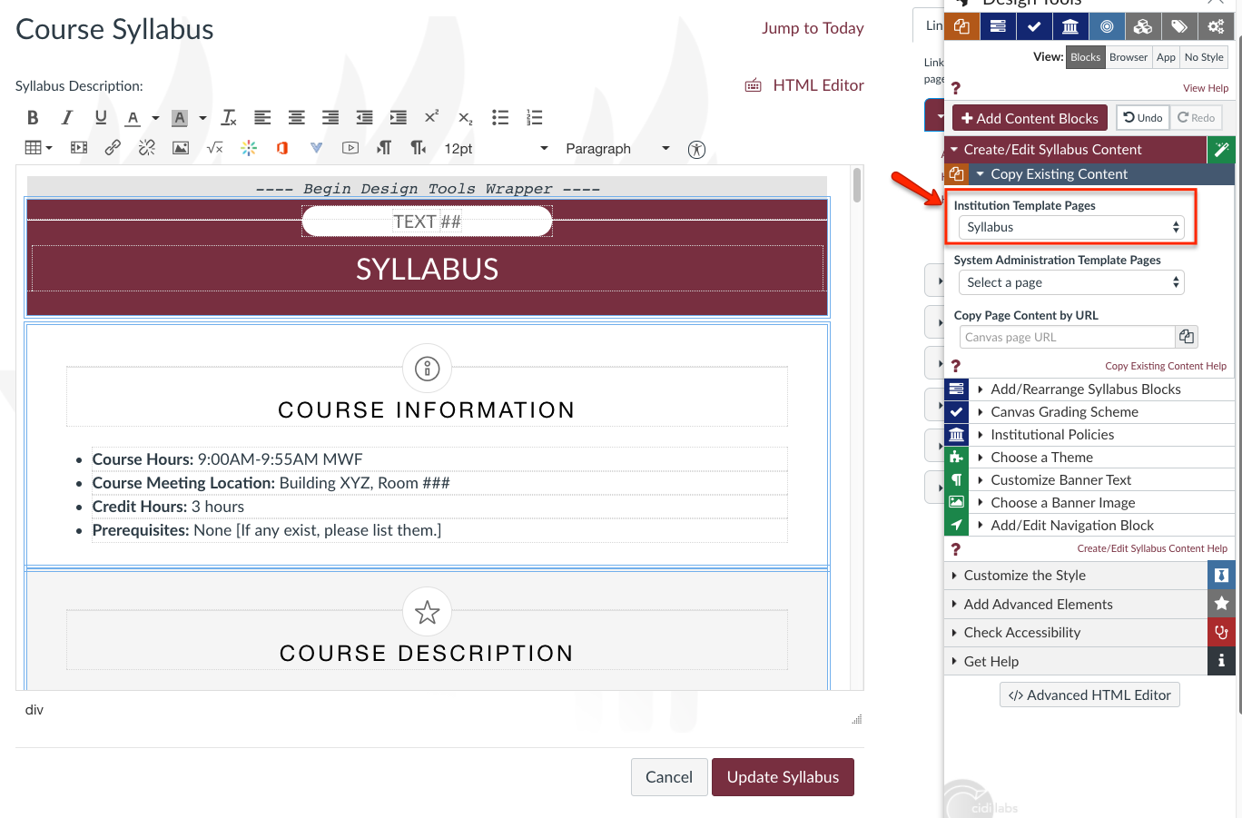 Cidi Labs Design Tools: Building a Syllabus Page - FSU