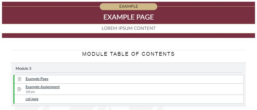 Design Tools How To Add A Module Table Of Contents Option Into Module Items Fsu Canvas Support Center
