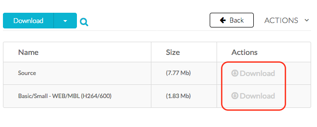 Screenshot showing download version links.