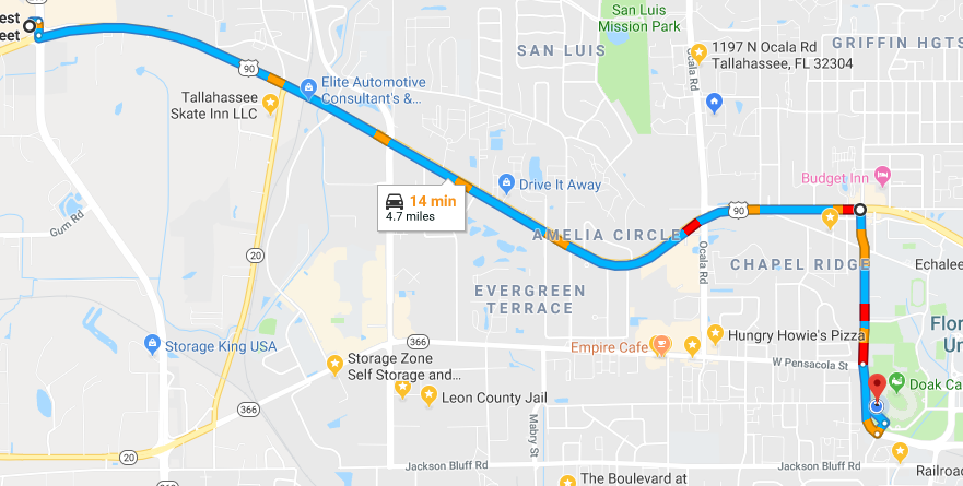 Map showing directions from the west end of Tallahassee