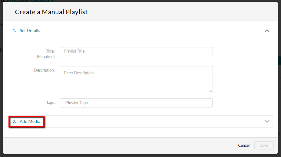 Manual playlist menu with Add Media link location highlighted