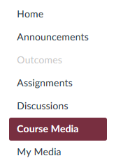 Course Media tab in course navigation bar