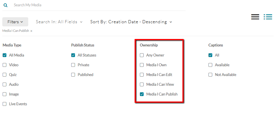 Image of the various filters available for browsing through Kaltura