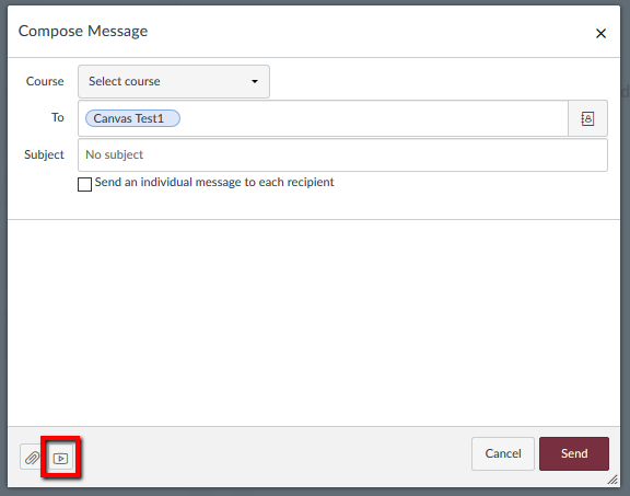 Depiction of Canvas inbox message window with media upload button highlighted.