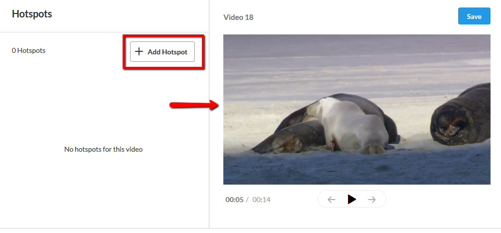 View of editor with Add Hotspot and the video preview screen highlighted.