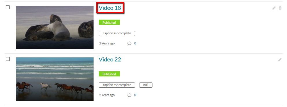 Location of a particular video's title link within My Media.