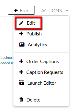 Location of the Edit button within the Actions menu.