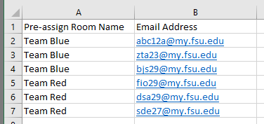 Example of multiple participant assignments and multiple Breakout Rooms in CSV file.
