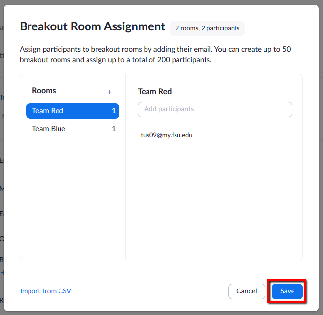 Location of Save button for saving changes to Breakout Room assignments.