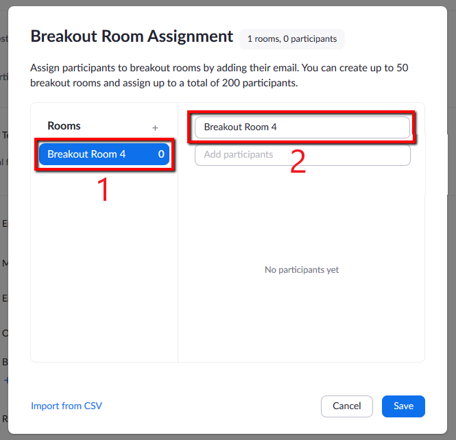 Locations of both Breakout Room list and area to add new participants to each Room.