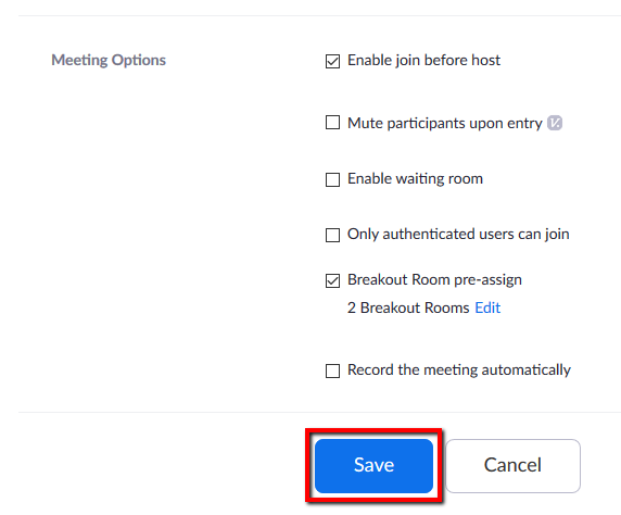 Location of Save button within general edit page for the Zoom meeting.