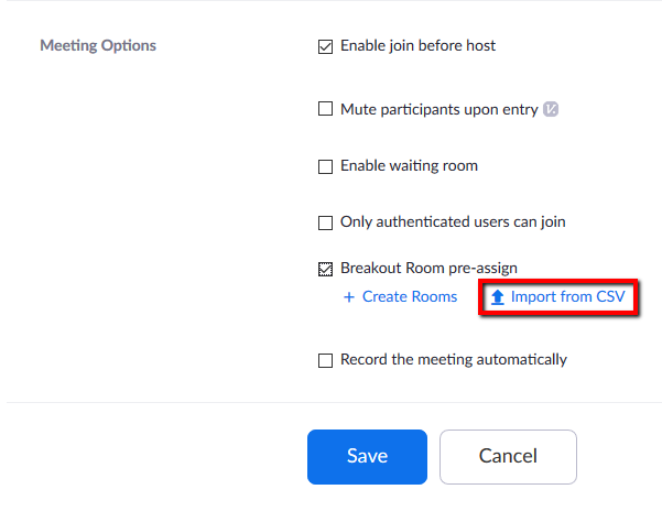 Location of CSV import option for Breakout Room pre-assignment.