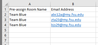 Example of multiple participant assignments within CSV file for a single Breakout Room.