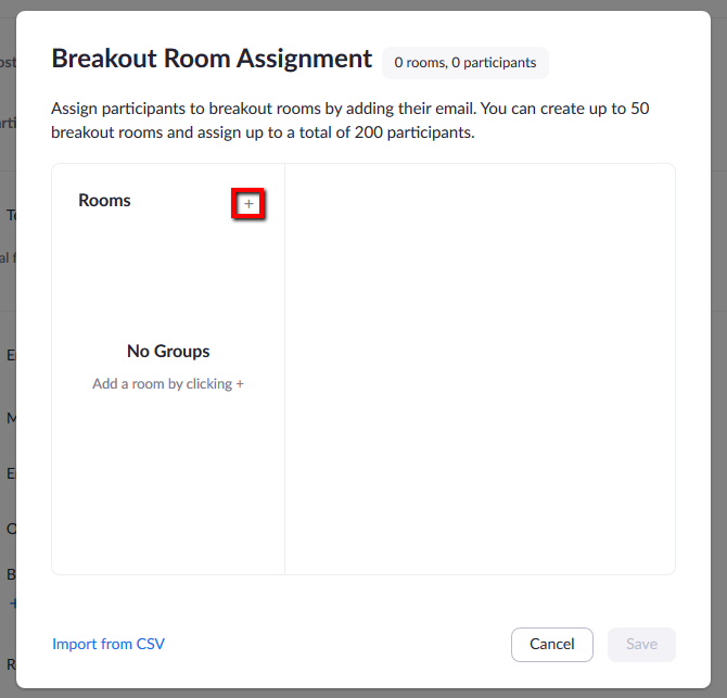 Location of button to add additional Breakout Room to account.