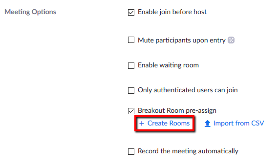 Location of button for creating pre-assigned Breakout Rooms within Zoom web menu.