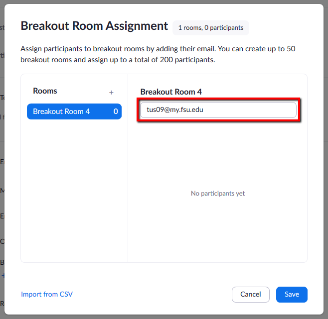 Location of text entry box for adding a participant's email to the Breakout Room list.