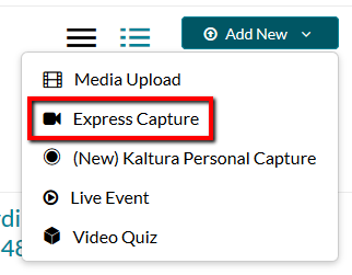 Location of Express Capture button within Add New drop-down.