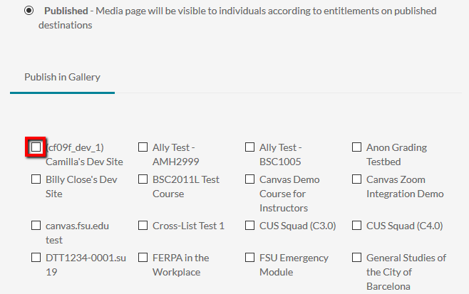 Example of a checkbox for an individual course's Media Gallery within Published menu.