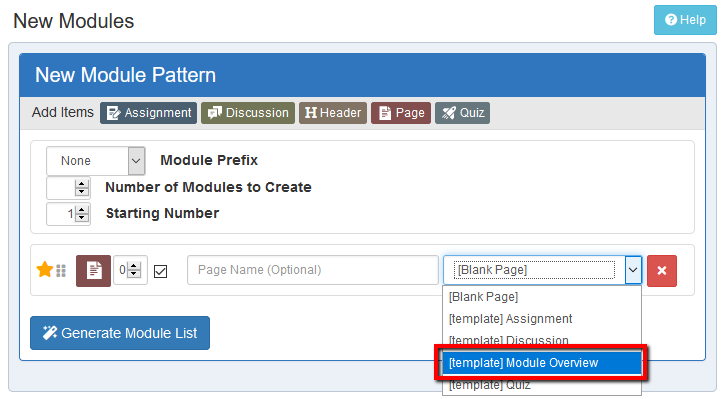 Location of ODL Module Overview template within Add New Page menu.