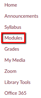 Location of Modules link within course navigation bar.