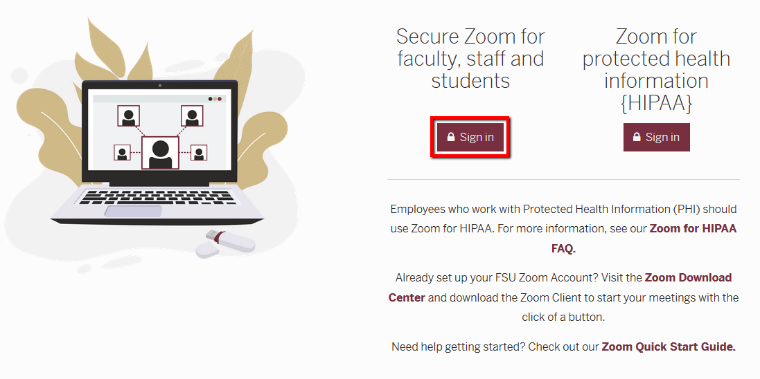 Location of Sign-In button on FSU ITS's fsu.zoom.us login page.
