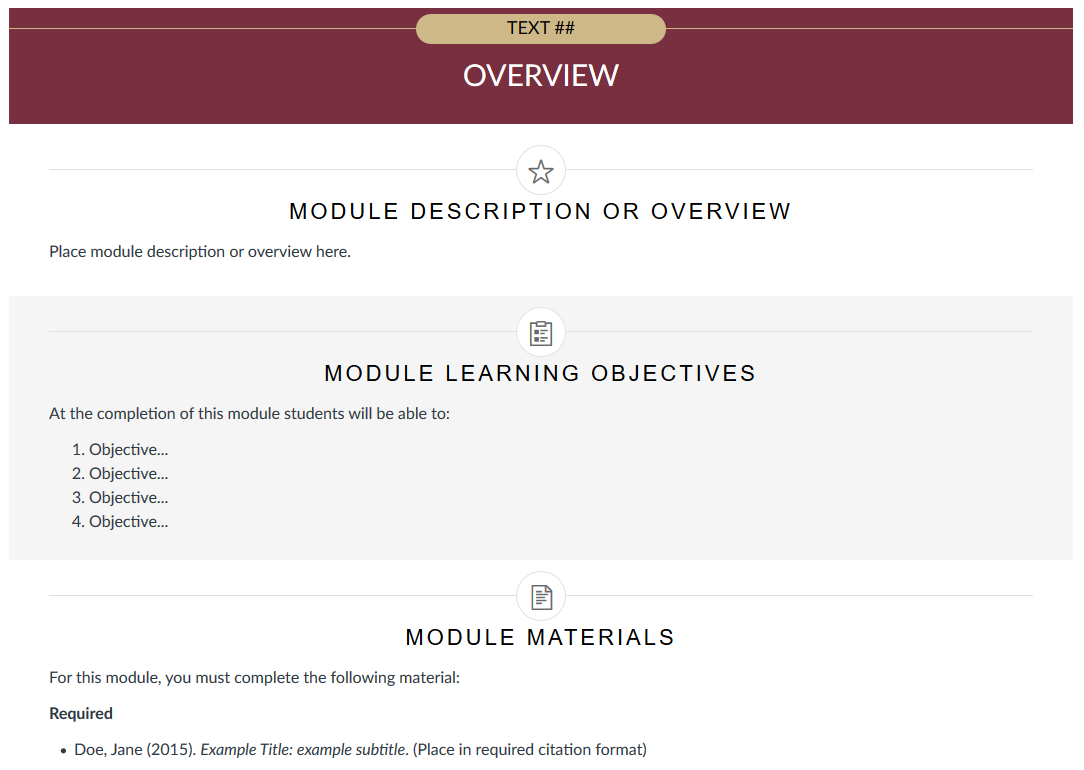 Preview of the Module Overview Template.