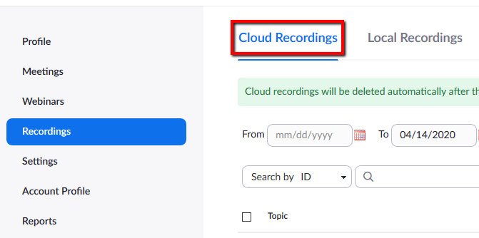 Location of Cloud Recordings option within Zoom acocunt.