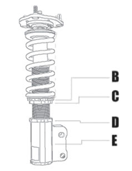 Full Coilover System Lowers Vehicle /& Increases Handling KSP-CTY101-KP