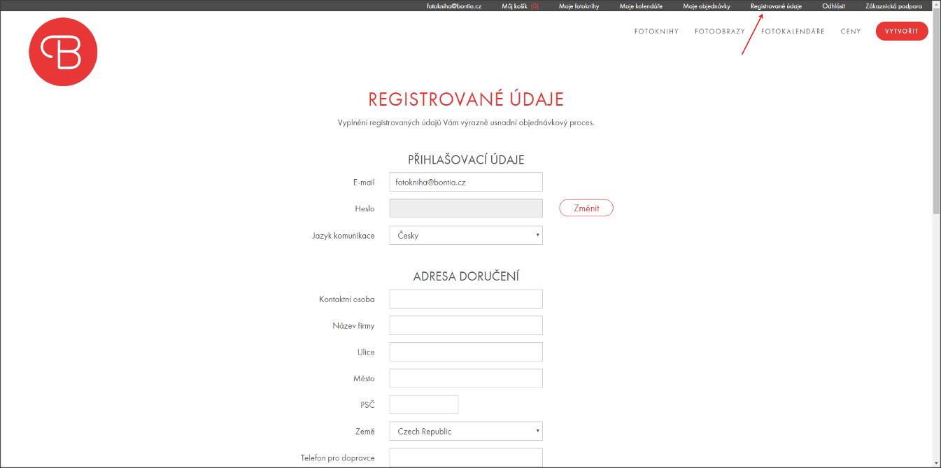 Změna registračních údajů