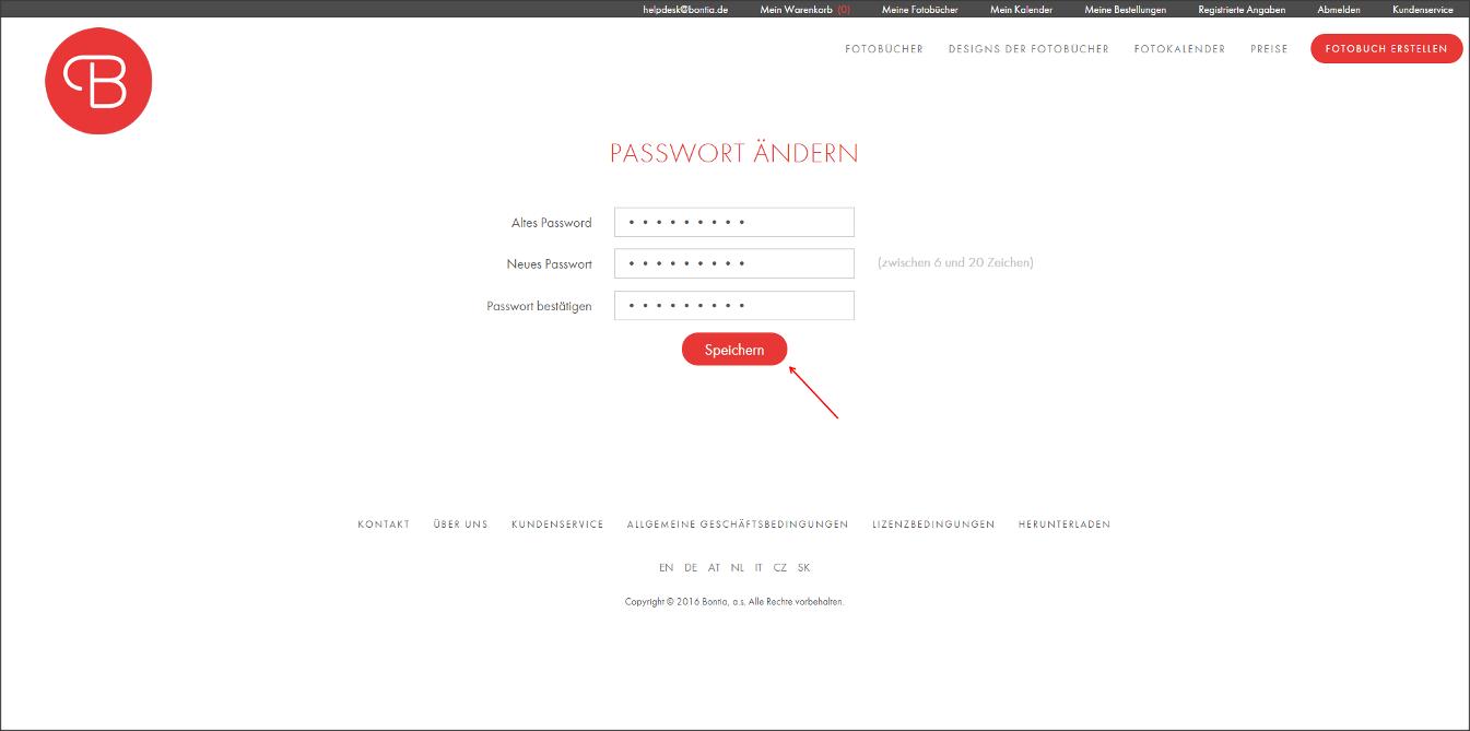 Einfügen eines neuen Passworts