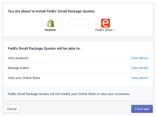 Screen capture of Shopify app authorization