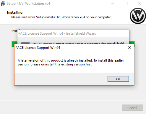 During installation, I get a popup saying