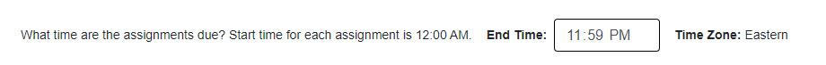 Screenshot of chosen assignment due time
