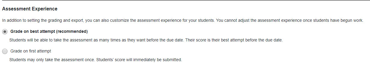 Screenshot of assessment experience grading options with Grade on Best attempt selected