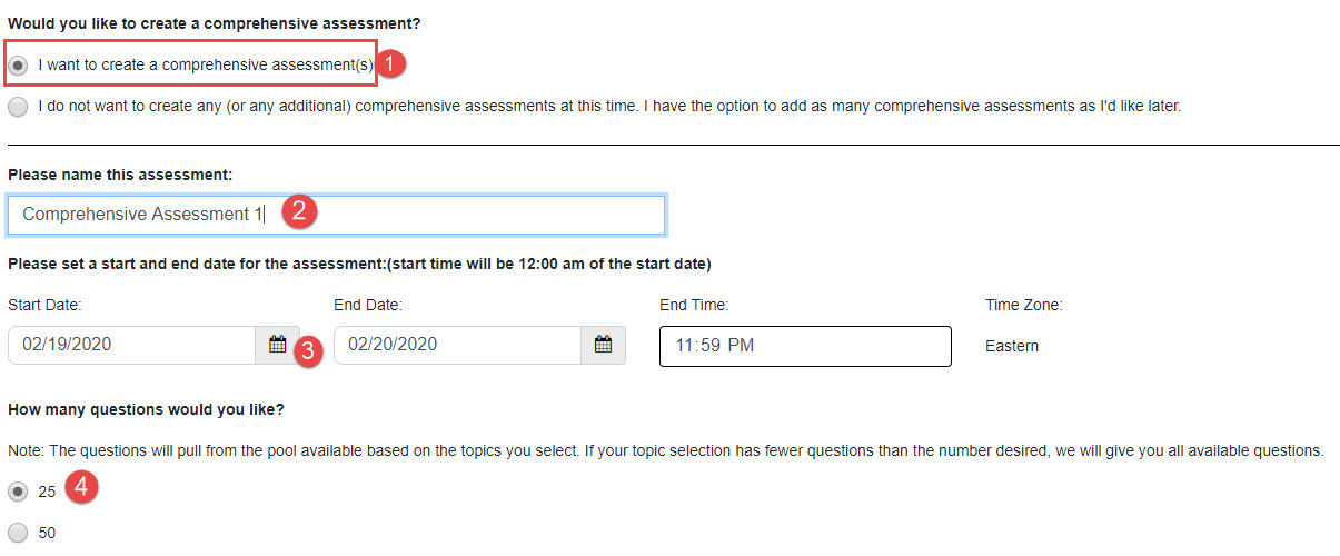 Screenshot of creating as assessment with red numbers listed next to the steps