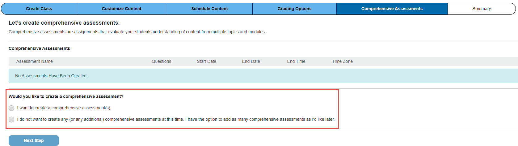 Screenshot of comprehensive assessment creation page with a red box around the choices to create an assessment or not