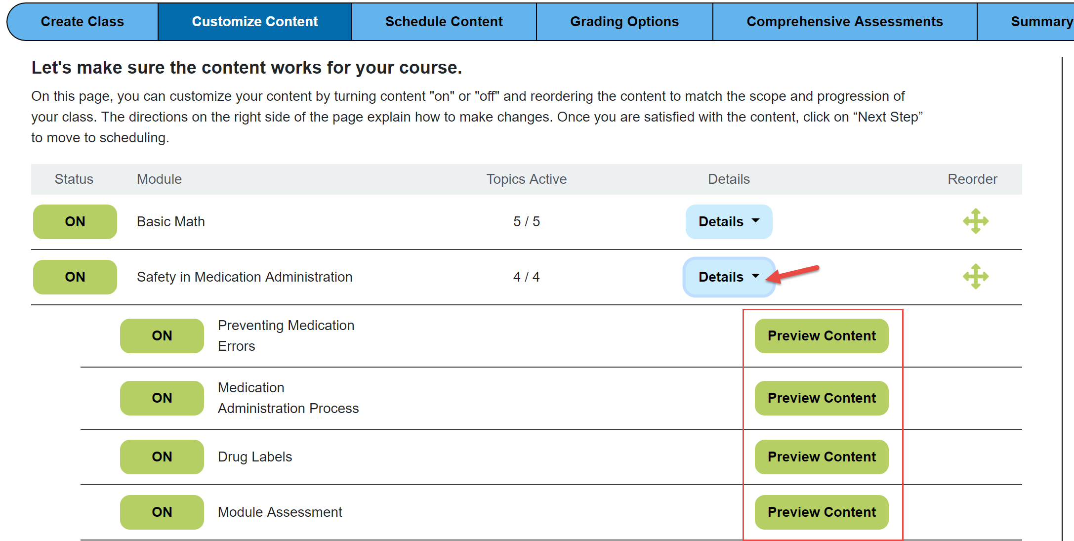Screenshot of preview content page showing Assignments in Dosage Calc 360. There is a red arrow drawing attention to the Details button that when clicked drops down subtopics. There is a red box around the Preview Content buttons for each subtopic.