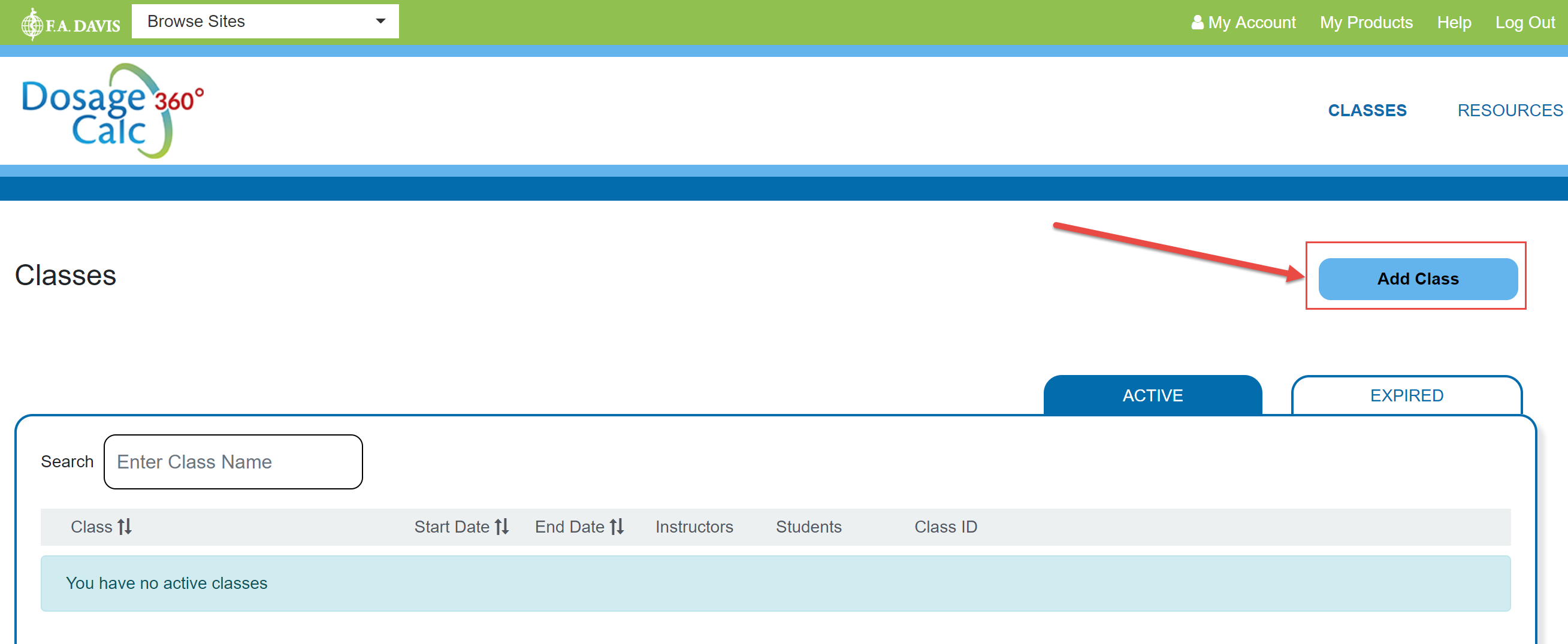 Screenshot of instructor home page for Dosage Calc 360 with a red box and red arrow drawing attention to the Add Class button that lets an instructor add a class to Dosage Calc 360.