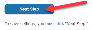 """Screenshot of red arrow pointing to """"next step"""" button"""