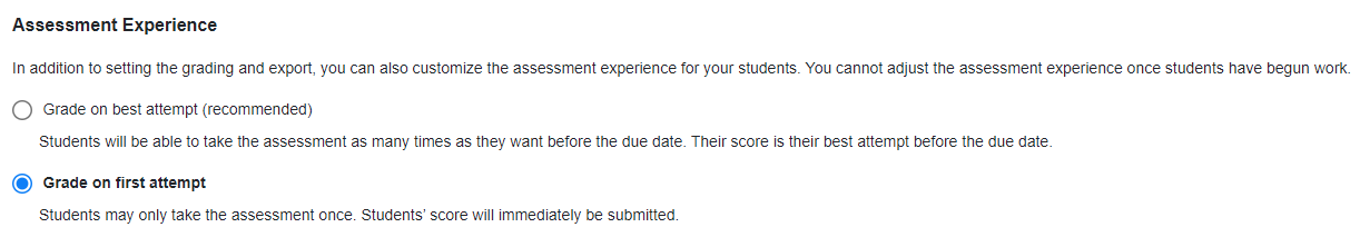 screenshot of grading options for assessment experience with grade on first attempt selected