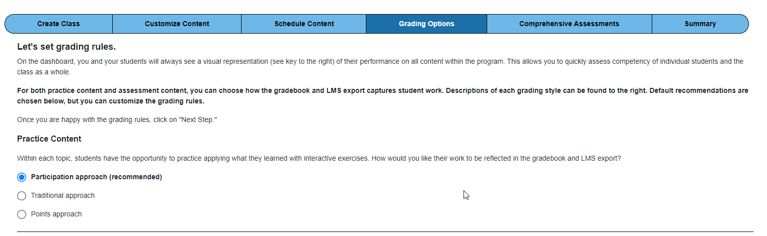 """Screenshot of Grading options screen with """"Participation Approach"""" selected"""